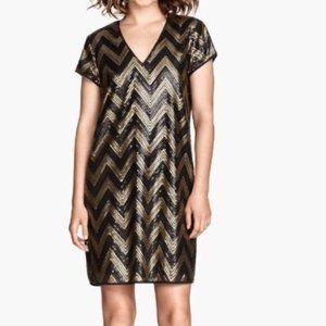 H&M Chevron Black Gold Sequin Cocktail Shift Dress